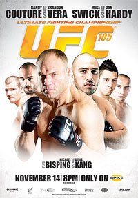 A poster or logo for UFC 105: Couture vs. Vera.