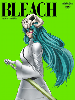 "A DVD  cover shows a woman with a skull mask on top of her long green hair, one of her hands rests on a sword, and a solemn look adorns her face. Behind is a bright green background. The word ""BLEACH"" is prominent at the top of the cover."