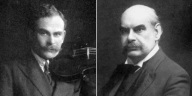 portraits of two white men of mature years, one with a full head of dark hair, one bald, both with moustaches