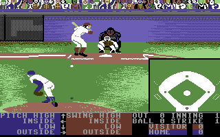 Throwing a pitch on the Commodore 64 version, with options for the pitcher and batter C64 Hardball.png