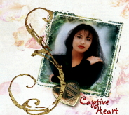"A cover album of a vertical cropped picture of a woman (Selena) who is posing with one of her hands on her opposite shoulder and her other hand holding her waist. The letter ""S"" is displayed with the ""Captive Heart"" written at the near bottom. A photo locket is right beneath the picture."