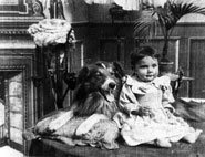 A black and white screenshot of a small baby sitting next to a collie from the film.