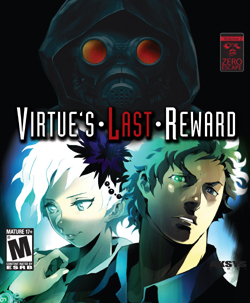 "The game's cover art, featuring two stylized characters: Phi and Sigma, both seen from the shoulders and up and looking off to the side. Above them, a hooded figure wearing a gas mask is shown, facing the viewer. The game's logo, vertically centered between the hooded figure and Phi and Sigma, shows the words ""Virtue's Last Reward"", with an interpunct between each word. ""Last"" is written in red, while the rest of the logo is white."