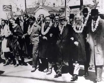 Dr. King and Rabbi Heschel on their way from Selma to Montgomery, Alabama, March 21, 1965