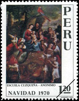 Peru's 1970 stamps reproduced paintings by anonymous Peruvian artists. Stamp Peru 1970 1.20s Xmas.jpg