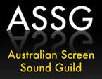 Initials of the Australian Screen Sound Guild, light grey shadow with the name in yellow on a square shaped black background.