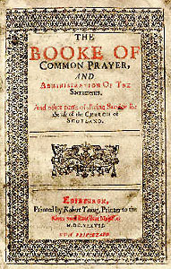 Title page of Book of Common Prayer, Scotland 1637