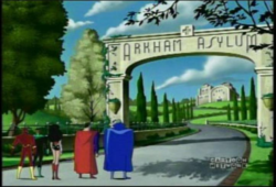 The alternate Arkham Asylum as it appeared on the Justice League episode A Better World, Part 2.