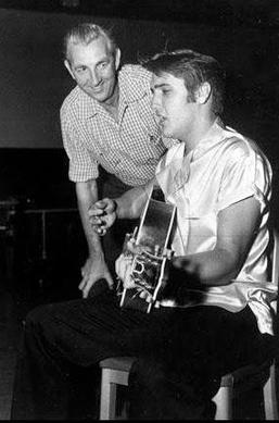 Ken Darby and Elvis Presley in the studio.