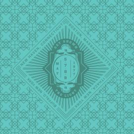 A green geometric pattern with a skull in the middle