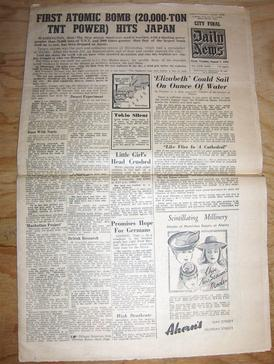 Daily News front page of 7 August 1945, announcing the atomic bombing of Hiroshima, Japan.[2]