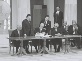 Signing at Zappeion by Constantine Karamanlis of the documents for the accession of Greece to the European Communities in 1979. Accession of Greece to the European Union.png
