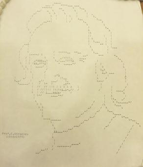 Early computer printout of Christopher Strachey in the Bodleian Library, Oxford.