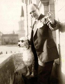 "Tor Borg and his dog Jackie. The dog had been trained to react to the command ""Hitler"" by raising a paw."