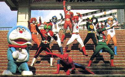 Protagonists of the popular tokusatsu franchises mostly of the late 1970s (from back to front, left to right): Ultraman Jonias (Ultra Series), Battle Fever J (Super Sentai), Kamen Rider Stronger and Kamen Rider V3 (Kamen Rider Series), and Spider-Man. The photo also features anime character Doraemon on the far left. Tokusatsu.jpg
