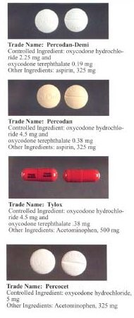 Formulations containing oxycodone and other analgesics.