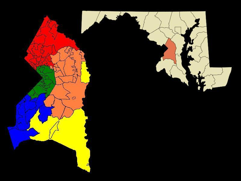 Where are some of the most populous counties in Maryland located?