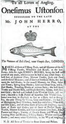 Trading card of the Ustonson company, an early firm specializing in fishing equipment, and holder of a Royal Warrant from the 1760s.
