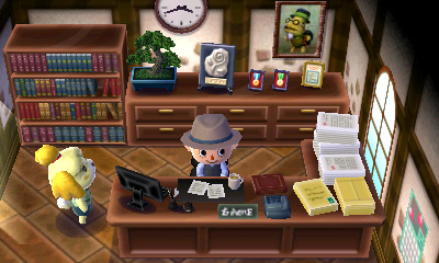 A player as town mayor with his assistant Isabelle Animal Crossing New Leaf Mayor.jpg