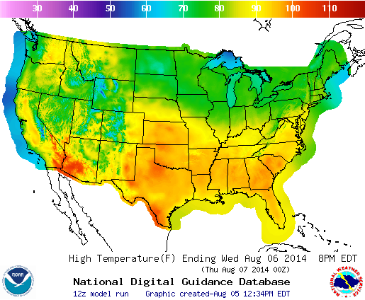 Gridded Mos Daytime High Temperature Over The Conterminous United States For 6 August 2014