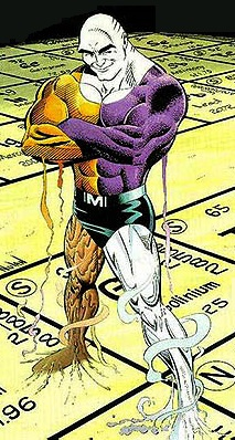 Metamorpho smiling and standing on a periodic table