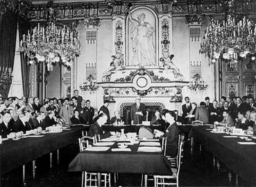 The Schuman Declaration led to the creation of the European Coal and Steel Community. It began the integration process of the European Union (9 May 1950, at the French Foreign Ministry). Schuman Declaration.jpg