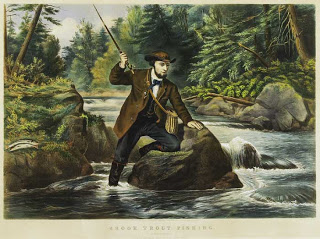 Fishing became a popular recreational activity in the 19th century. Print from Currier and Ives. Trout fishing 1860s.jpg
