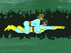 The Ambiguously Gay Duo flying together.