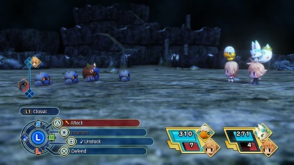 A battle in World of Final Fantasy: Lann and Reynn face a group of Mirages in a dungeon with their allied Mirages. Displayed are the playable characters, battle options and turn order. WoFF gameplay.jpg