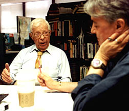 Schorr (left) and NPR's Scott Simon prepare for Saturday broadcast.(photo: Geneva Collins, Copyright © 2001 Current Publishing Committee. Reproduced by permission.)
