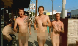 "The music video for ""What's My Age Again?"" depicts the band running naked through the streets of Los Angeles. WMAA Blink.jpg"