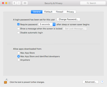 Screenshot of the System Preferences application of OS X Yosemite, showing the three Gatekeeper options as radio buttons.