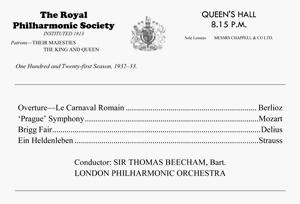 koncertprogramo, listigante Overture Roman Carnival de Berlioz; Prague Symphony de Mozart; Brigg Fair de Delius kaj Ein Heldenleben de Richard Strauss