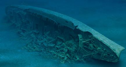 A painting of the decaying SS Andrea Doria circa 2005, with its superstructure gone and hull broken after 50 years of submersion in swift North Atlantic currents. Click to enlarge.
