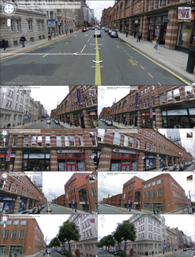 A road junction in Manchester, England, showing nine different angles