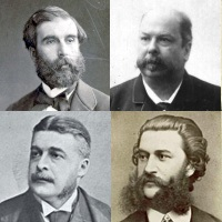 Librettists and successors: clockwise from top left, Ludovic Halévy, Henri Meilhac, Johann Strauss II, Arthur Sullivan