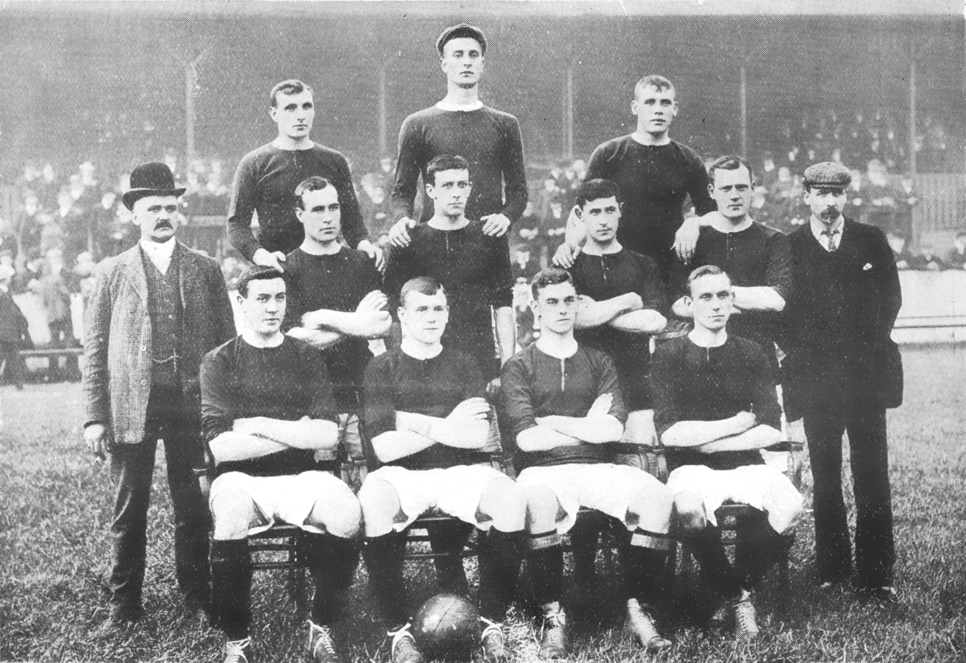 The Manchester United team at the start of the 1905-06 season in which they were runners up in Division 2 and promoted