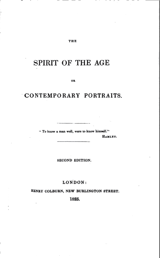file the spirit of the age by william hazlitt title page  file the spirit of the age 1825 by william hazlitt title page