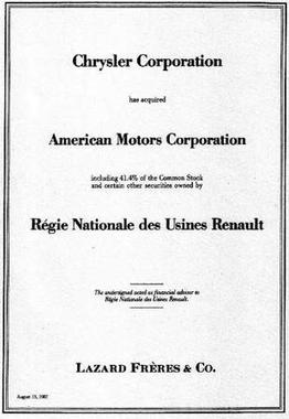 In 1987 Chrysler purchased American Motors from Renault Tombstone (financial industry) ad - Chrysler buys AMC 13 August 1987.jpg