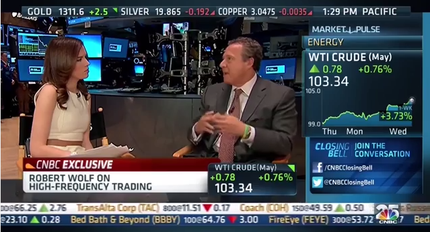 CNBC HD showing the additional green sidebar (right) showing additional market statistics, while the main show appears on the left. This format was used from its launch on October 10, 2007 through October 10, 2014. The screenshot above was taken during Closing Bell on April 9, 2014. CNBCHD 20140409.png