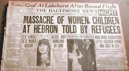 Newspaper report on Hebron Massacre 1929