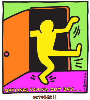 National coming out day logo, a Keith Haring image of a person dancing out of a dark room