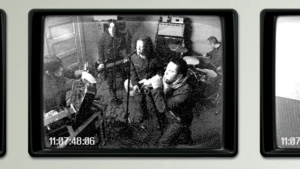 Still image from the black and white video with the band. Survivalism Music Video.png