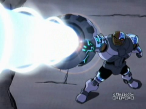 Cyborg using his Sonic Cannon in the Teen Titans animated series.
