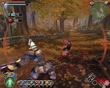 Screenshot of Fable for the PC, showing the Hero fighting a bandit. In the top left of the screen are health and will meters, and in the top right is a map. Available spells are displayed on the bottom edge of the screen. Fable battle.png