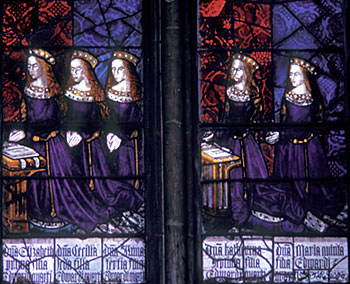 The five daughters of King Edward IV (1461-1483) and Elizabeth Woodville, (left to right): Elizabeth, Cecily, Anne, Catherine, and Bridget. Royal Window, Northwest Transept, Canterbury Cathedral The Daughters of Edward IV.jpg