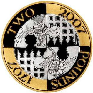 The PS2 coin issued in the United Kingdom in 2007 to commemorate the 300th anniversary of the Acts of Union 2007PS2union.jpg
