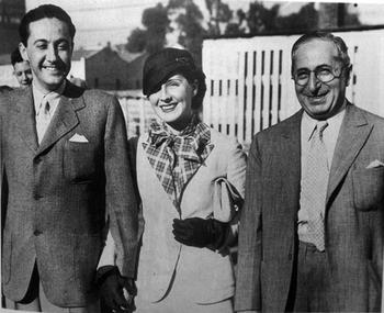 Thalberg (left) with wife, Norma Shearer, and Louis B. Mayer, 1932 With Mayer-Shearer.jpg