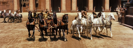 The chariot race scene, illustrating the extremely wide aspect ratio used (2.76:1). Chariot Race Ben-Hur.png
