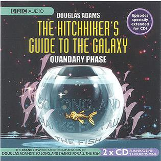 "Front cover of the BBC Audio release of the ""Quandary Phase"" (Fits 19-22) of The Hitchhiker's Guide to the Galaxy. H2G2 Phase4 front cover.jpg"